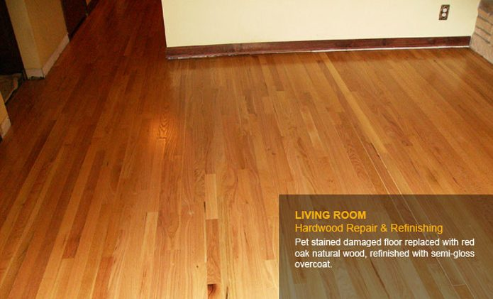Living Room Hardwood Repair & Refinishing - After