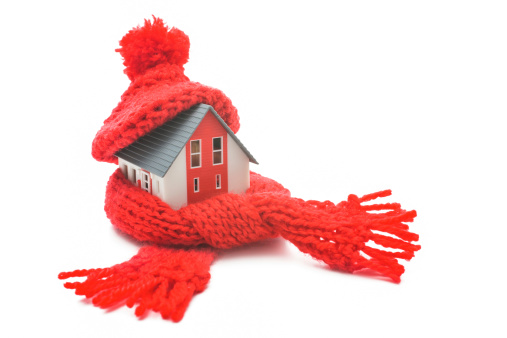 House with a scarf and winter hat